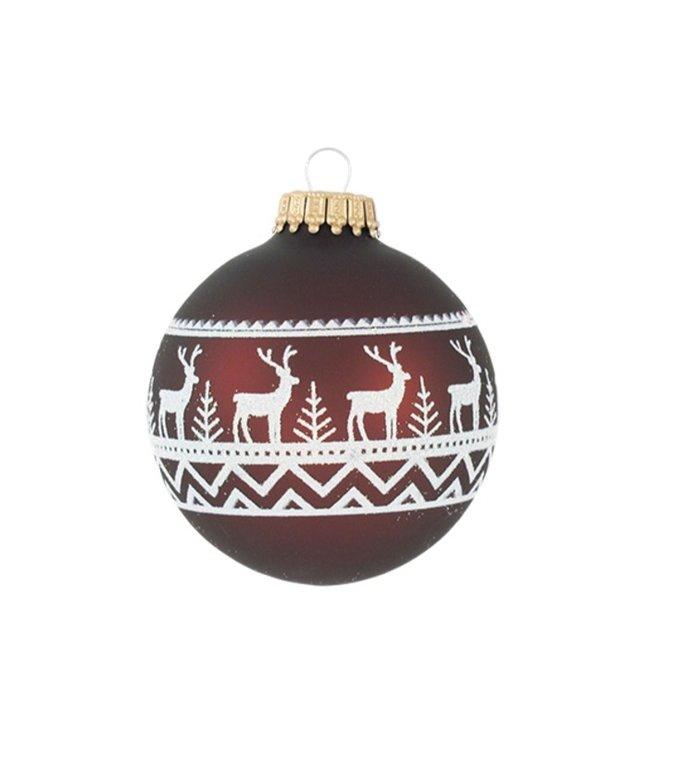 Glazen bruine kerstballen met witte hertjes in een bos 7 cm