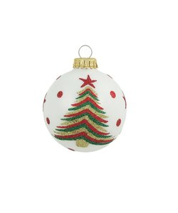 Kerstballen Wit met Gekleurde Kerstboom