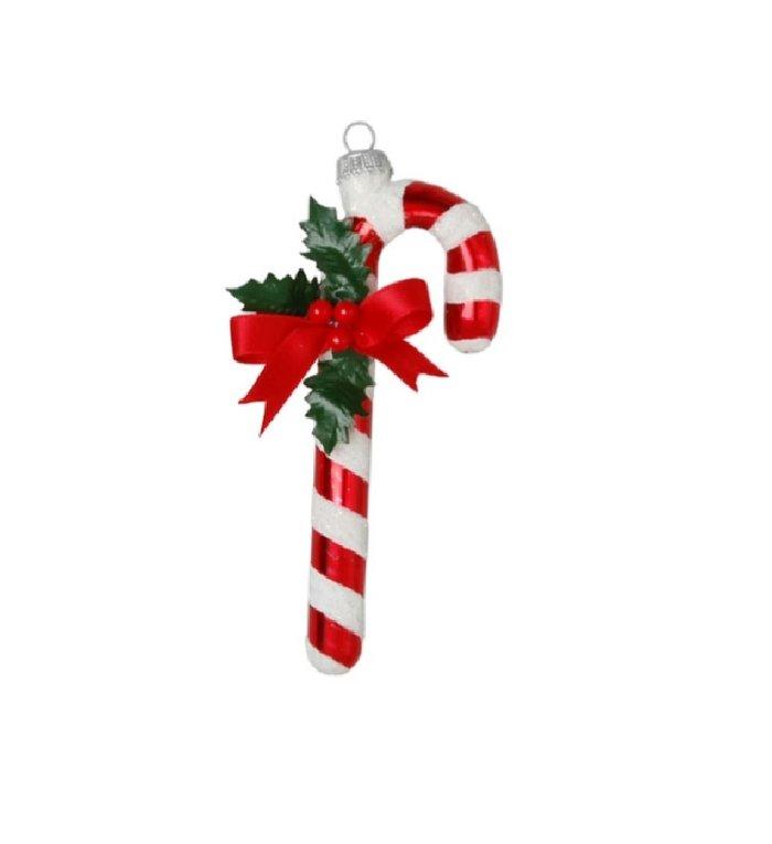 Glazen kerstboomdecoratie Kerst zuurstok 10 cm