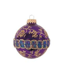 Kerstballen Paars met Glitterband en Gouden Decoratie