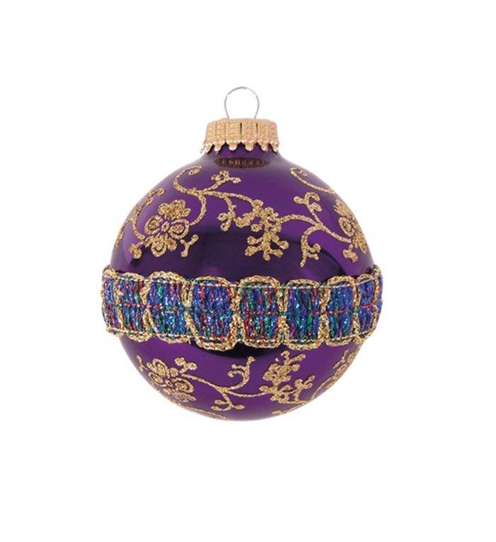 Glazen paarse kerstbal met glitterband en gouden decoratie 7 cm