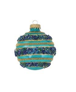Kerstballen Zeeblauw met Pareltjes en Glitterstrepen