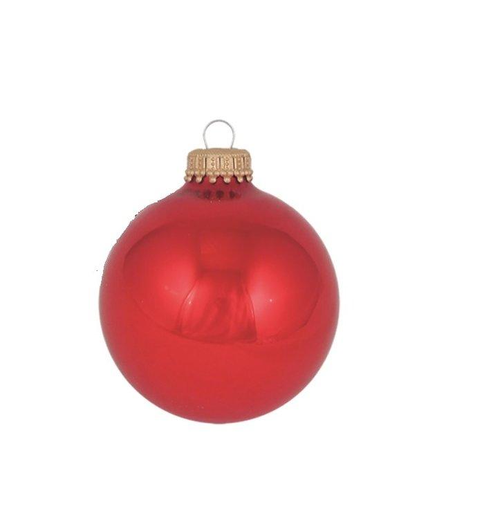 Glazen glanzende kerstballen appel rood effen 7 cm