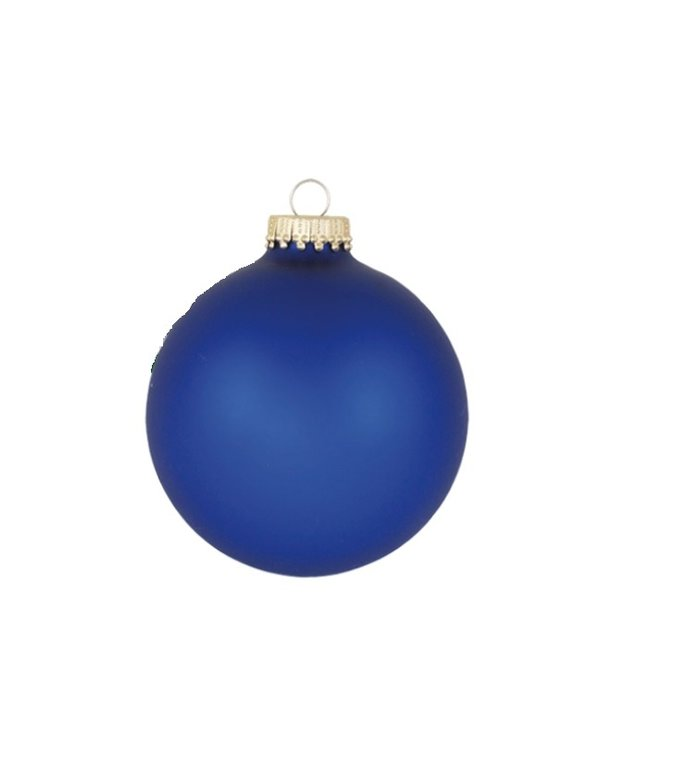 Glazen matte kerstballen konings blauw effen 8 cm