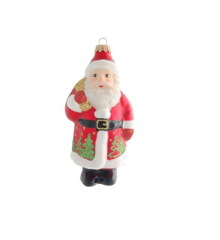 Glazen kerstman kerstboom figuur - 14 cm - rood groen