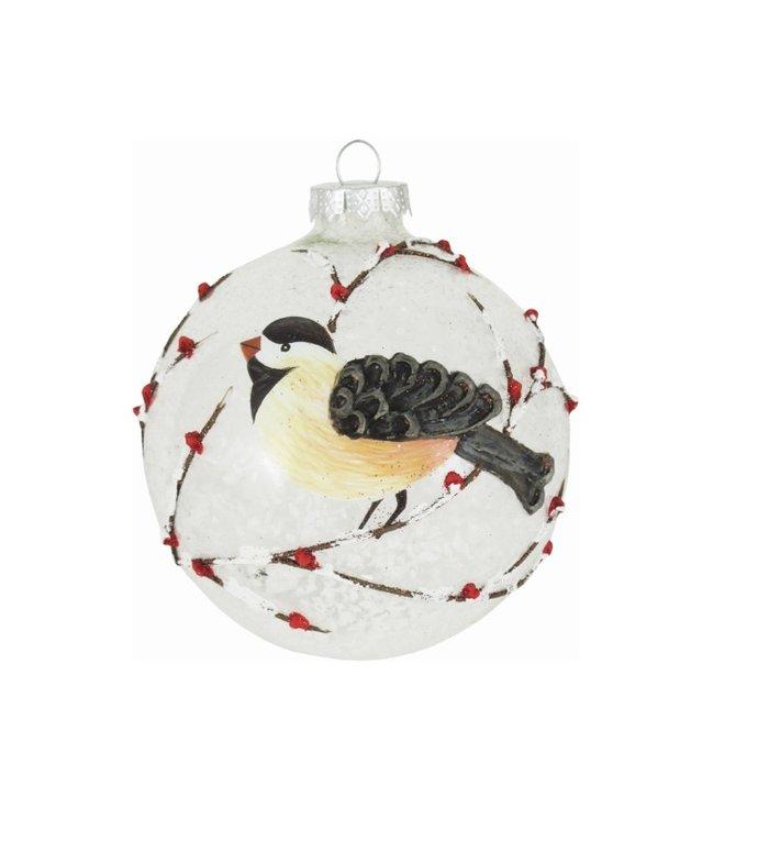 Grote glazen doorzichtige kerstbal met meesje en sneeuw - 10 cm