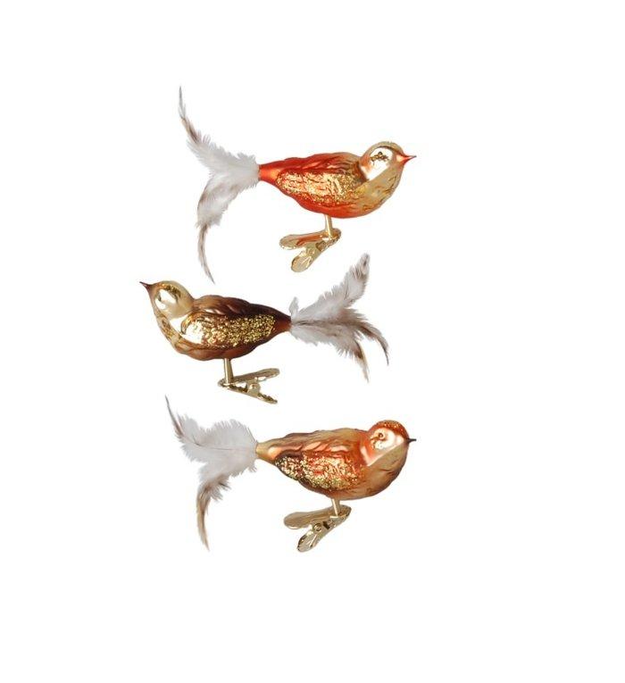 Doosje van 3 vogeltjes in herfstkleuren met kerstboomknijper - 11 cm