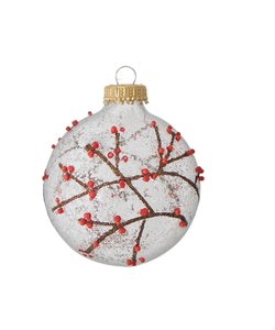 Kerstballen Takjes, Rode Bessen en Sneeuw