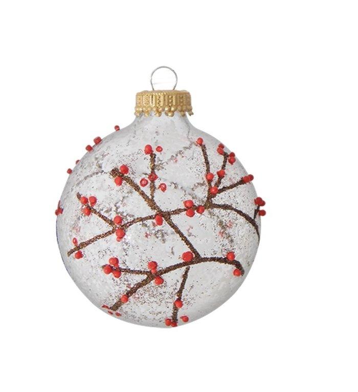 Glazen transparante kerstballen met takjes, bessen en sneeuw 7 cm