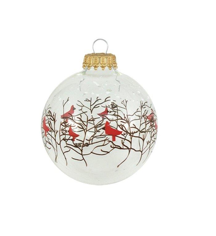 Glazen doorzichtige kerstballen met vogeltjes en takjes 7 cm