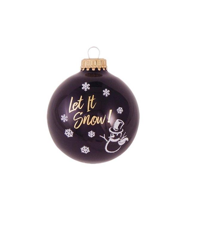 Glazen zwarte kerstballen sneeuwpop en Let it  snow  7 cm