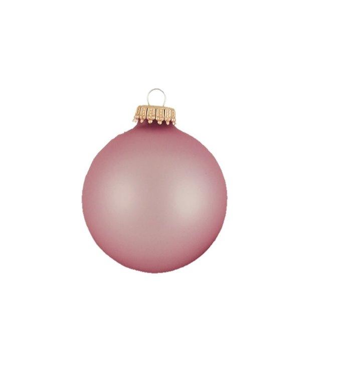 glazen, matte kerstballen aardbeienijs roze effen 7 cm