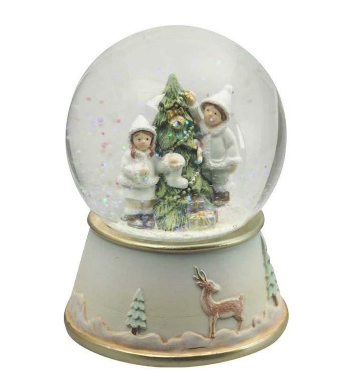 Kerst Speeldoos met sneeuwbol kinderen versieren kerstboom
