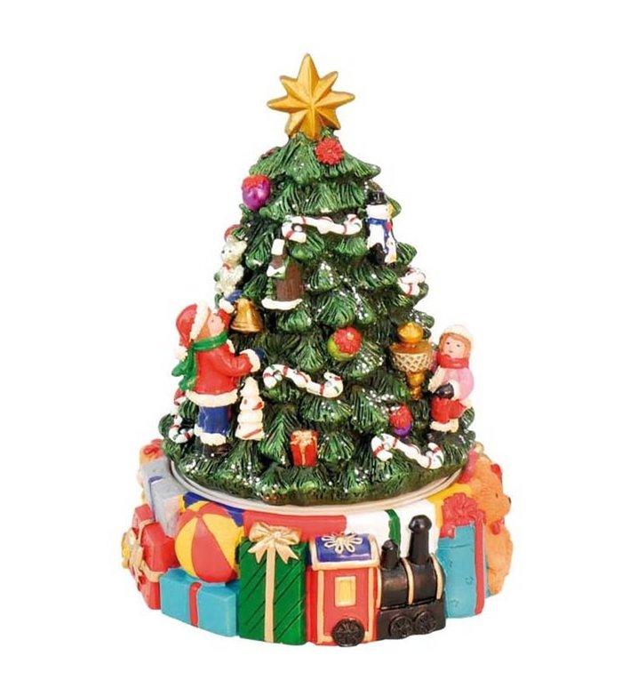 Kerst speeldoosje kerstboom met pakjes 15,5 cm