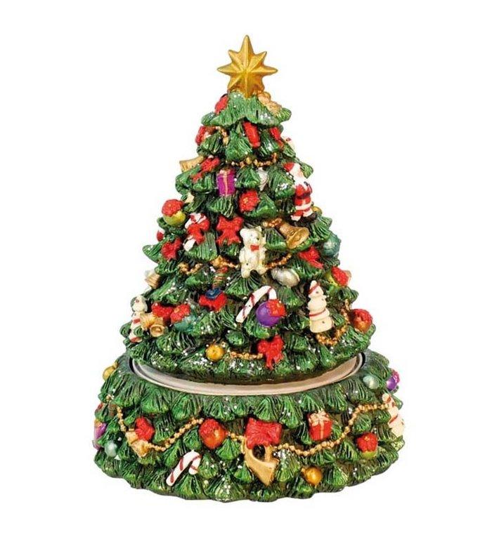 Kerst speeldoosje versierde kerstboom 15,5 cm