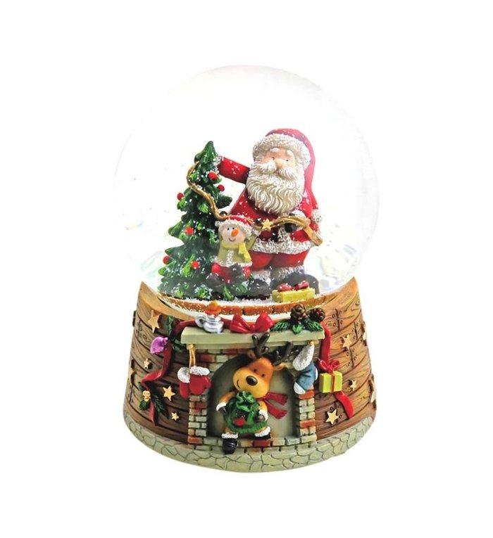 Speeldoosje met sneeuwbol Jingle Bells kerstman bij de kerstboom