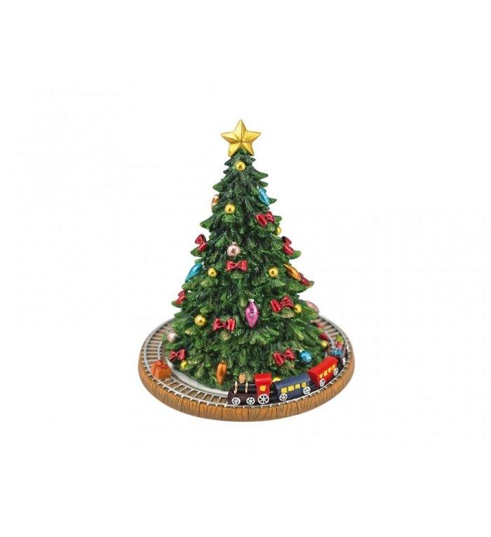 Speeldoosje kerstboom met trein 18,5 cm