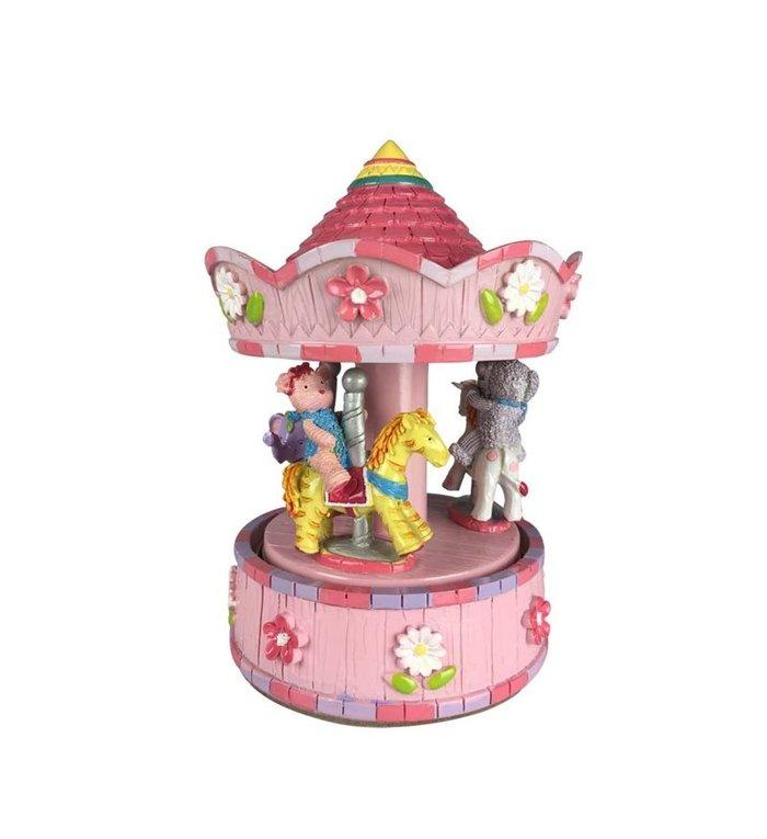 Roze muziekdoosje carrousel met diverse dieren 15,5 cm