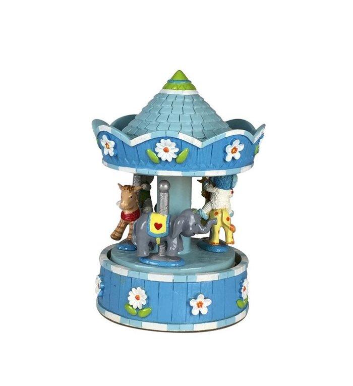 Blauw muziekdoosje carrousel met diverse dieren 15,5 cm