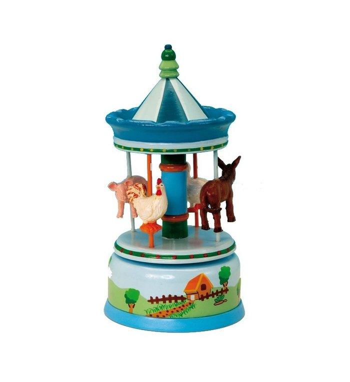Houten muziekdoosje carrousel met dieren van de boerderij 20 cm