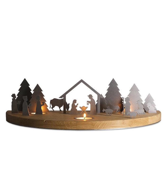 unoferrum Eikenhouten waxinelichthouder Silhouette L Kerststal