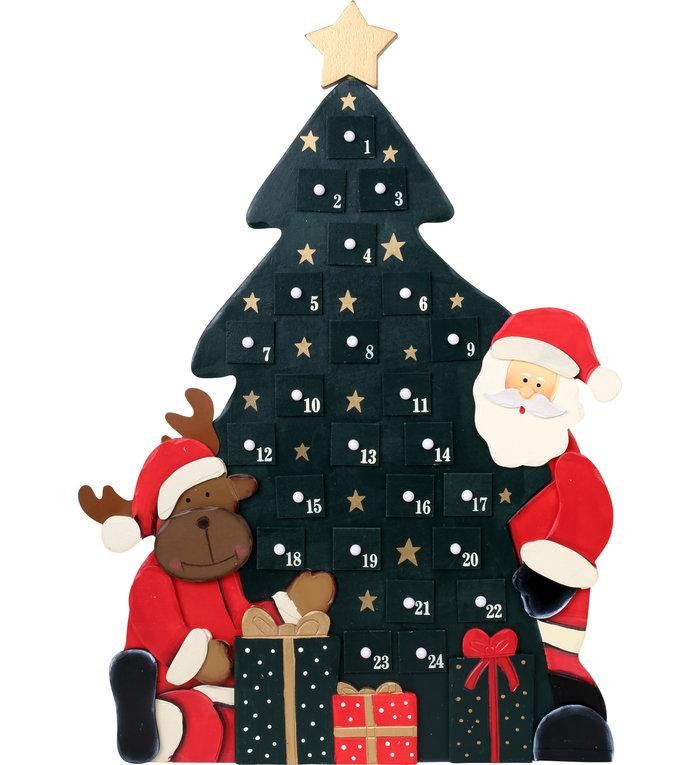 Houten kerstboom adventskalender met Santa en Rudolph