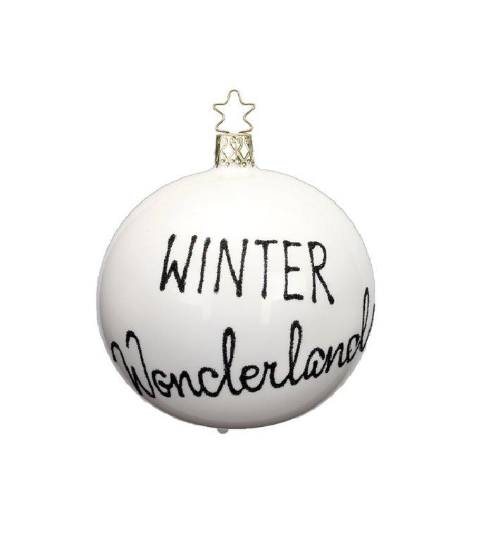 Winter Wonderland witte kerstbal 8 cm