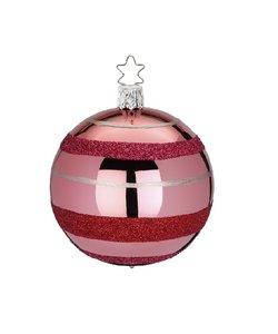 Kerstbal Roze met Rode Ringen en Zilveren Strepen