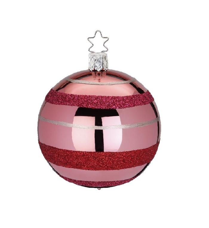 Ringen en strepen roze kerstbal 8 cm