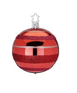 Kerstbal Rood met Rode Ringen en Zilveren Strepen