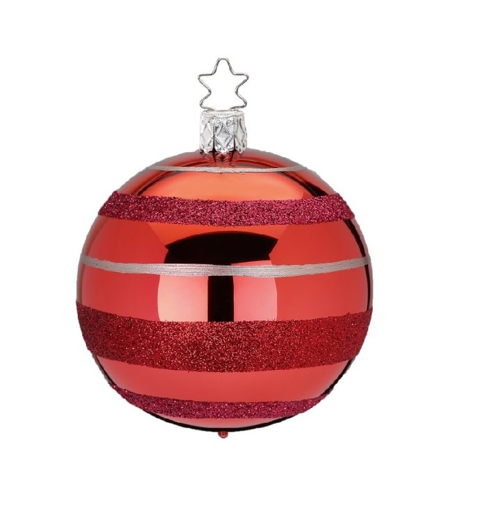 Ringen en strepen rode kerstbal 8 cm