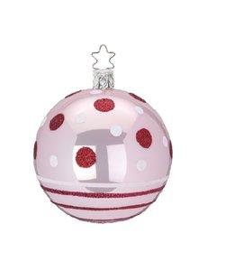 Kerstbal licht Roze met Rode en Witte Stippen en Strepen