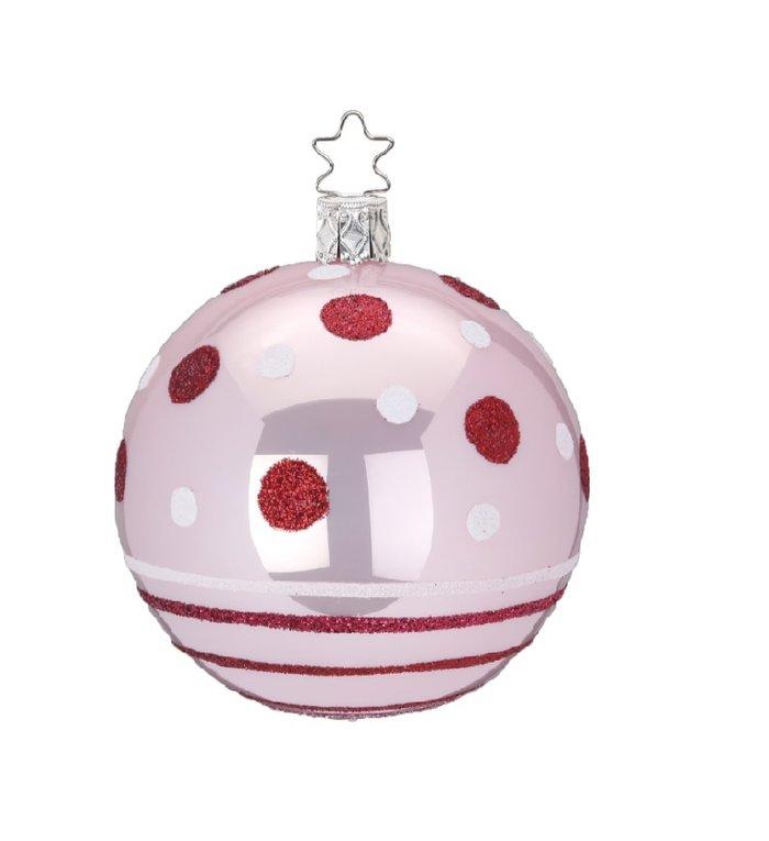 Stippen en strepen roze kerstbal 8 cm