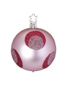 Kerstbal Roze met Grote Rode en Roze Glitter Stippen