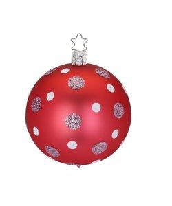 Kerstbal Rood met Zilver roze en Witte Glitter Stippen