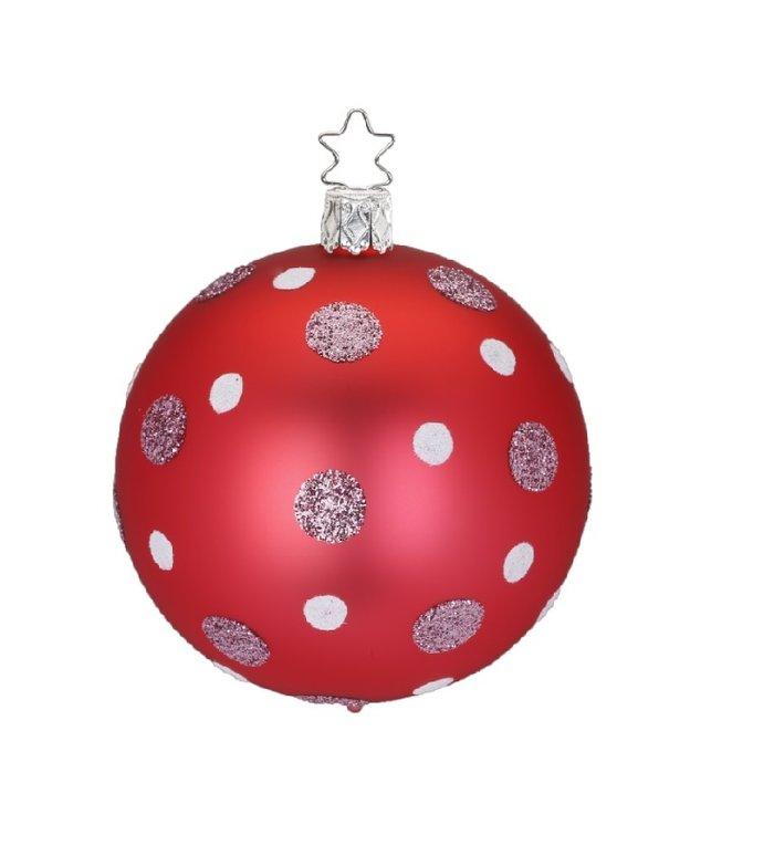 Zilver roze en witte stippen rode kerstbal 8 cm