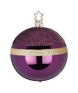 Kerstbal Aubergine Paars met Goud Glittertop