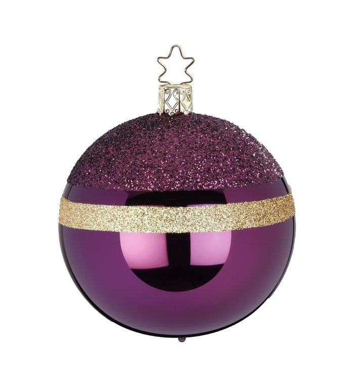 Glittertop aubergine / druif kleur met goud kerstbal 8 cm