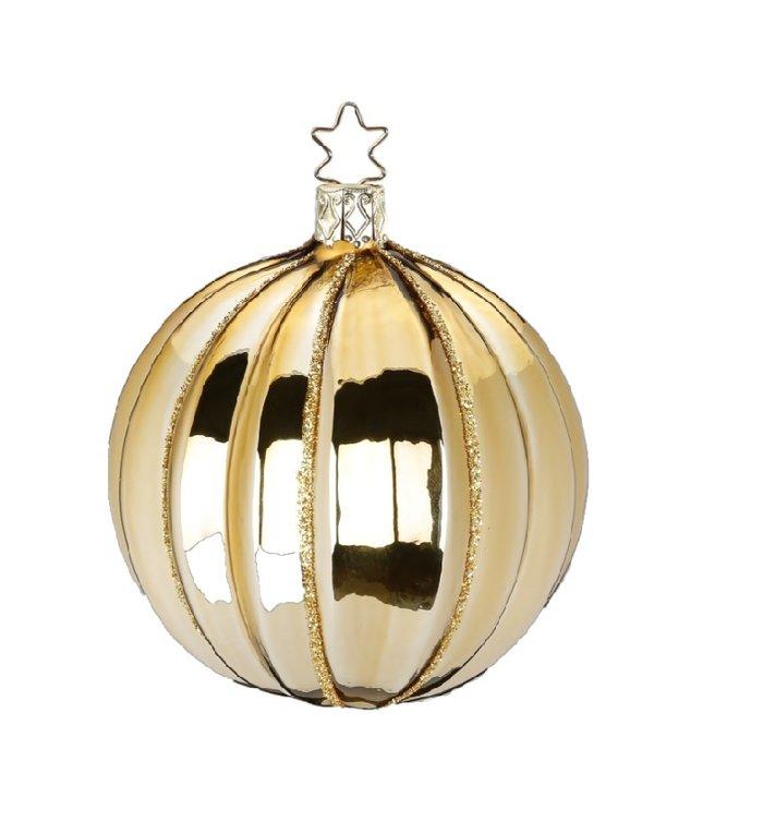 Fantasie gouden kerstbal 7,5 cm