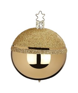 Kerstbal Goud met Gouden Glittertop