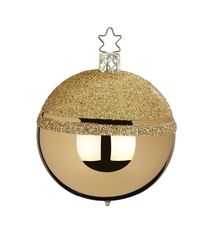 Glittertop gouden kerstbal 8 cm