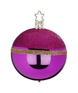 Kerstbal Roze met Goud Glittertop