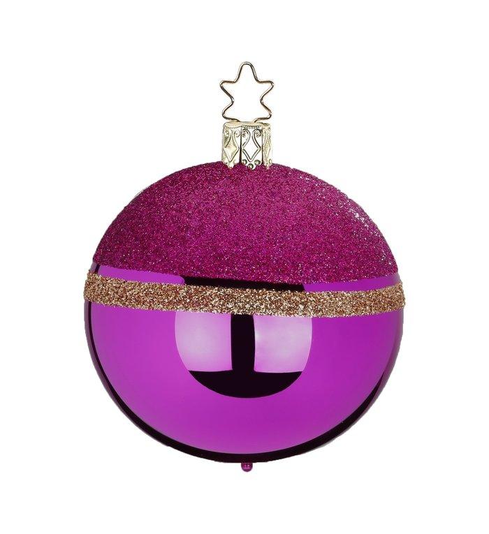 Glittertop roze met gouden kerstbal 8 cm