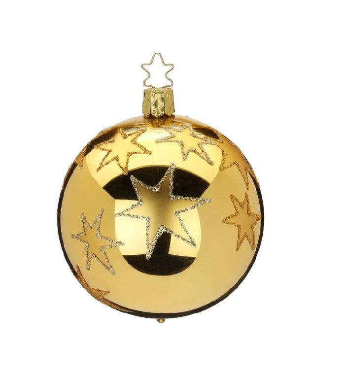 Kerststerren groen met gouden kerstbal 8 cm