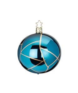 Kerstbal Cyaan Blauw met Goud Tiffany