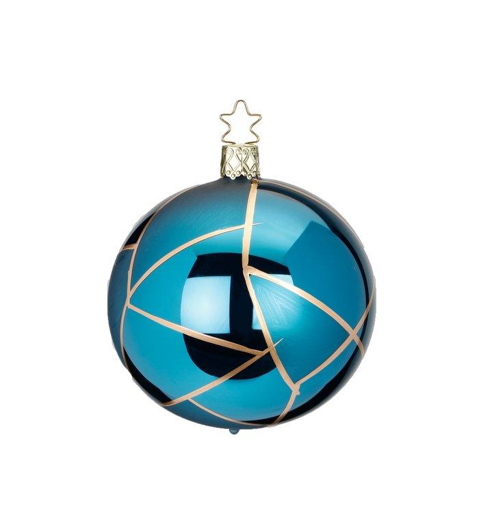 Tiffany cyaan blauwe kerstbal met goud 8 cm