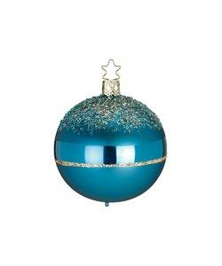 Kerstbal Cyaan Blauw met Goud Glitter on Top