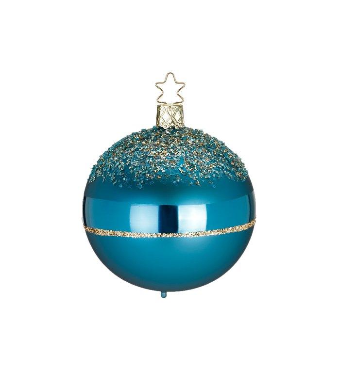 Glitters on Top Tiffany cyaan blauwe kerstbal met goud 8 cm