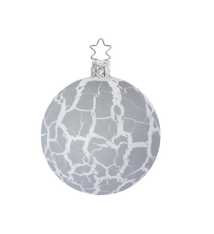 Dusty grey and white, wit en grijze kerstbal 8 cm