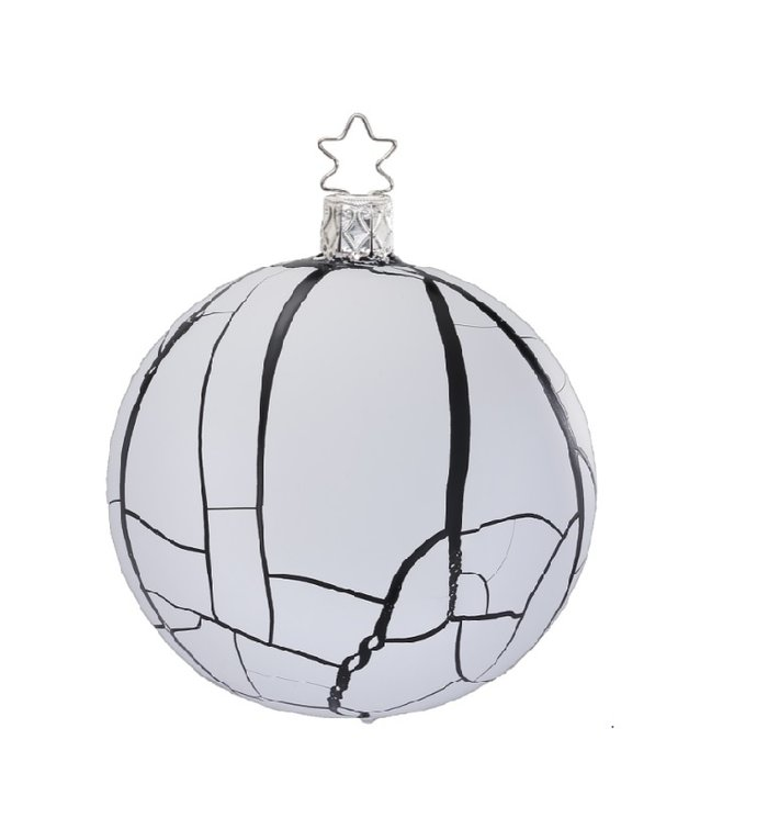 Dusty black and white, zwart en witte kerstbal 8 cm